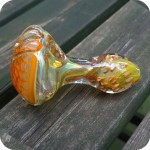 Double blown honeycomb and inside out glass pipe with long glass beads on the front of this Glass Pipe