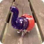 baby elephant glass pipe, Small sculptural elephant shaped glass pipes