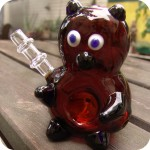Sculptural glass smoking pipe in the shape of a teddy bear