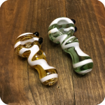 White Striped Glass Pipes
