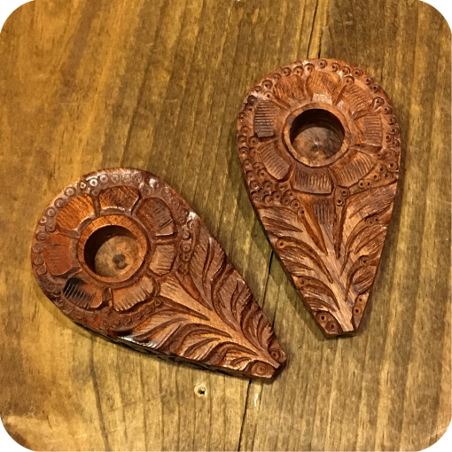 Sunflower Engraved Wooden Pipe