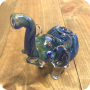 Blue Green Elephant Glass Pipe