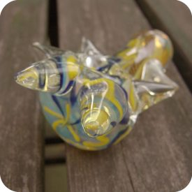 Thick silver fumed smoking pipe with inside out designs and protruding clear glass spikes
