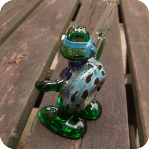 Sculptural glass pipe in the shape of a Ninja Turtle character