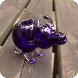 Sculptural glass pipe in the shape of a bull