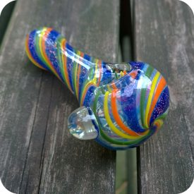 Thick color changing rainbow and dichroic swirled glass piece