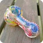 Colorful double blown silver fumed glass smoking pipe with latticino inside out designs and a strip of dichroic glass